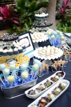 Buff & Blue Dessert Table:  Mini Blue Velvet Cupcakes, Mini triple Salted Caramel Cupcakes, Mini...
