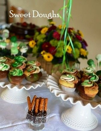 Camo Cupcakes, Chocolate dipped pretzels, Candy Covered Marshmallow Pops & Chocolate Ganache Cake