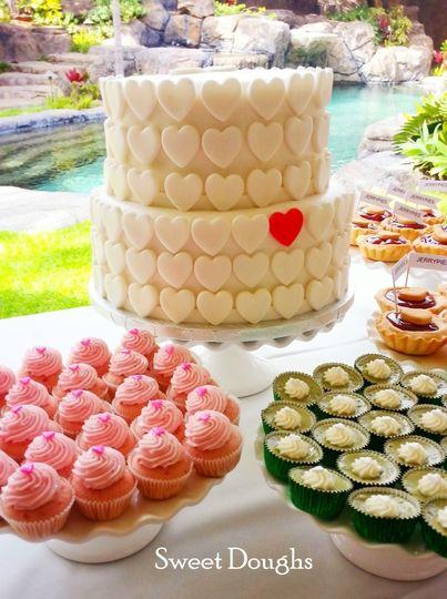 "8"" Lilikoi (passion fruit) Cake with Lilikoi filling & buttercream covered in vanilla fondant.  10""..."
