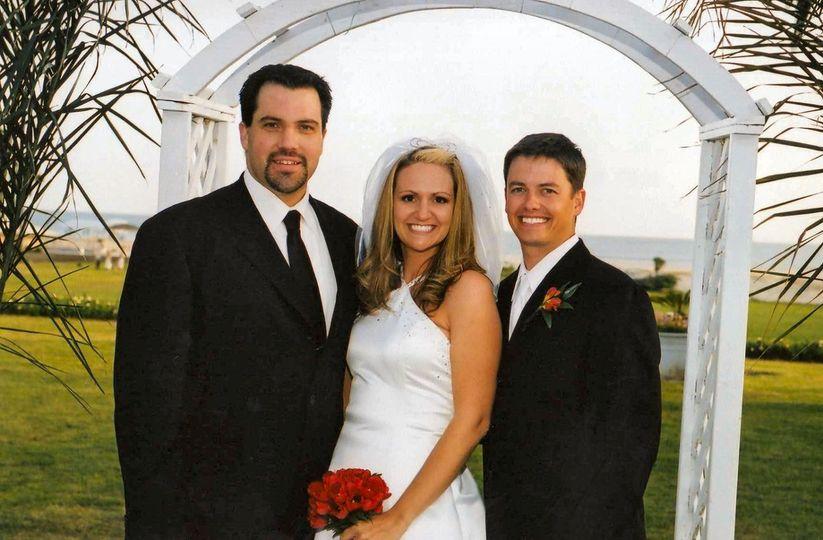 Couple with groomsmen
