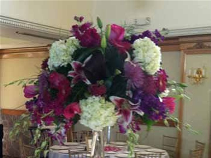Tmx 1344293987403 VioletWhiteTallCenterpiece New City, New York wedding florist