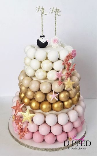 Beach-themed ombre wedding cake pop cake