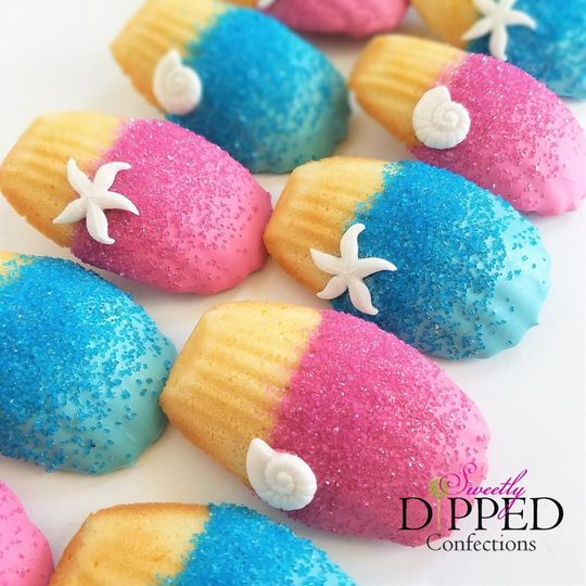 Beach-themed chocolate dipped Madeleines