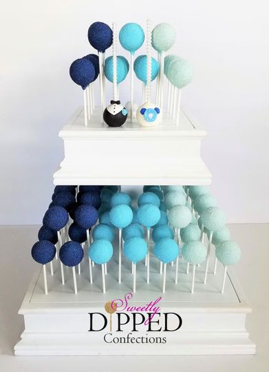 Ombre Blue tiered cake pop cake display