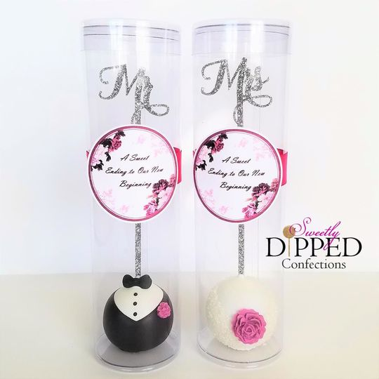 Bride & Groom cake pop favors
