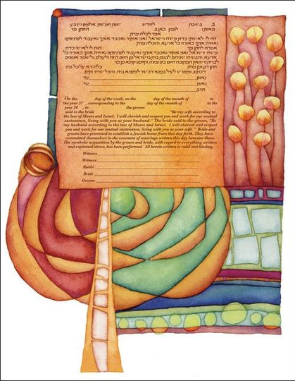 'Springtime' Ketubah by Rachel Deitsch Have your wedding vows printed in this artwork!