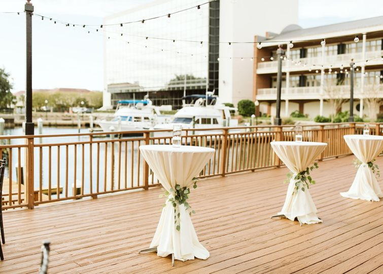 Cocktail reception by the docks