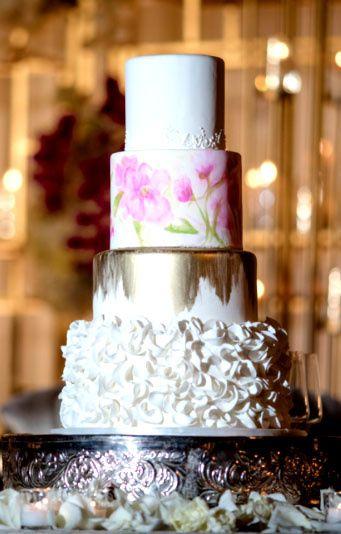 Tmx Hand Painted Pink Gold And Ruffles 51 5474 Marietta, Georgia wedding cake