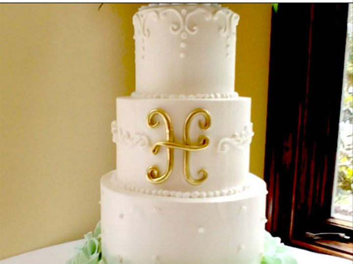 Tmx Mint Ruffles And Gold Mono 51 5474 Marietta, Georgia wedding cake