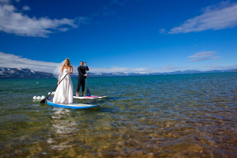 Couple out paddling in their finery