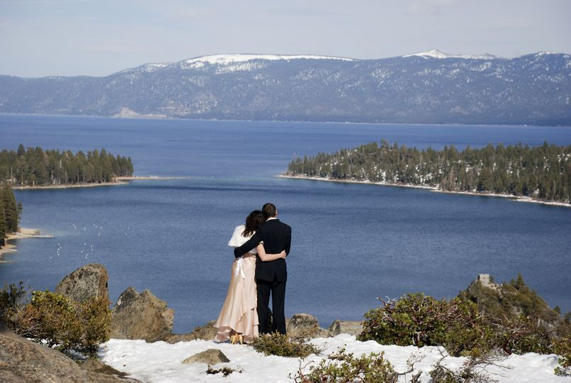 wedding above emerald bay