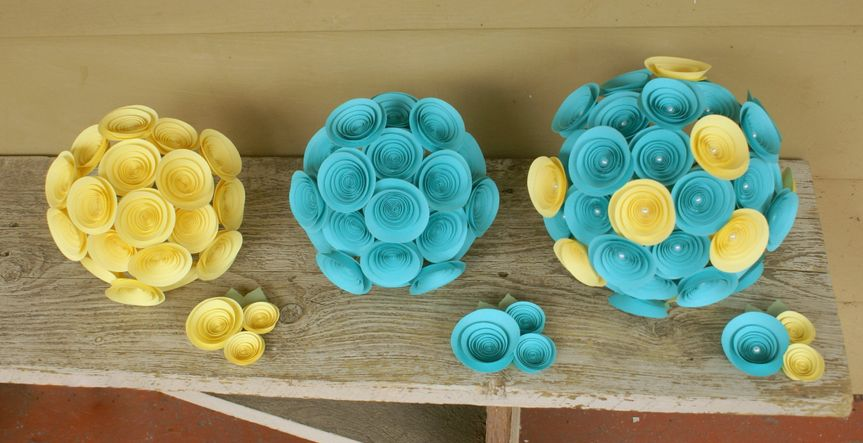 A Bridal Bouquet, two Bridesmaids Bouquets, and three Cluster-style Boutonnieres in Tiffany Blue and...