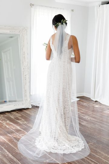 Sophia | Delicate chapel length veil with gathered rhodium plated, tarnish resistant comb