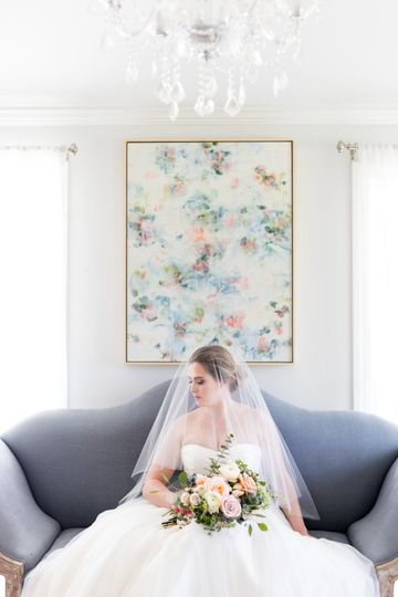 Charlotte | Classic fingertip length veil with traditional blusher