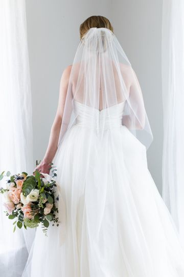 Caroline | Simple fingertip length veil, can be worn as a traditional blusher or traditionally over...