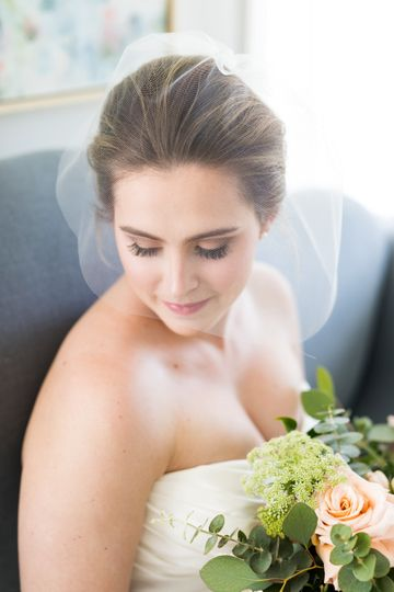 Amelia | Simple blusher veil that creates a gorgeous halo, complimenting the brides features