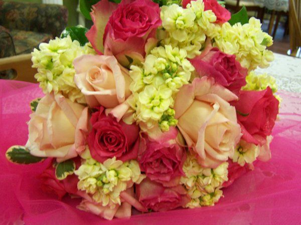 Fuscia pink, pale pink roses with yellow stock and variegated pittosporum accents bouquet