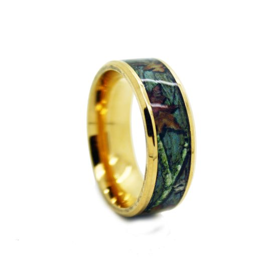 8c100gt gold camo wedding ring bevel titanium