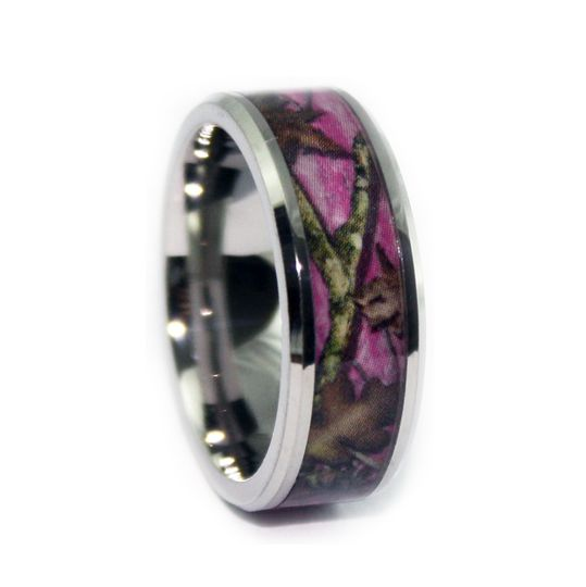 8pc100bvt bevel titanium pink camo wedding ring