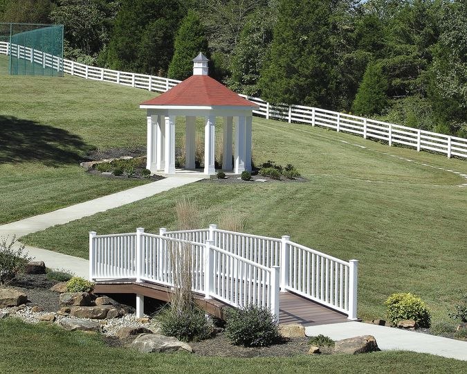 Imagine your ceremony in our gorgeous Gazebo, while your loved ones sit in rows of white chairs.