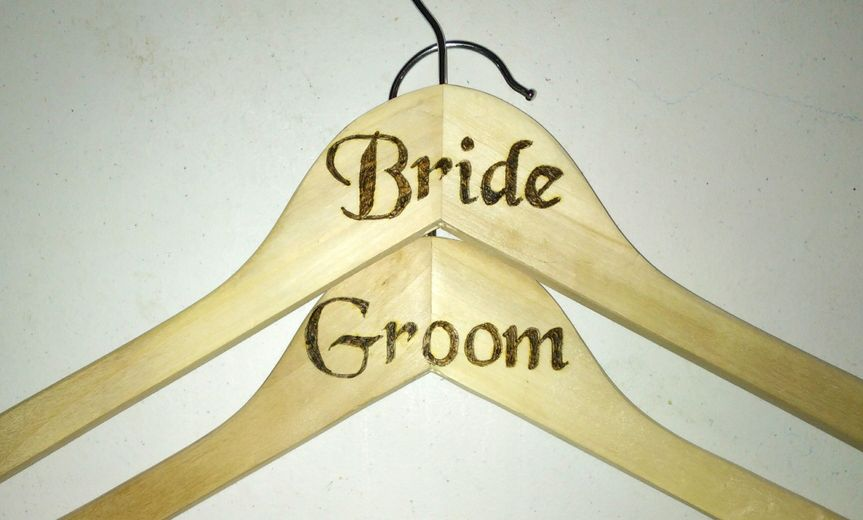 Personalized clothes hangers. Can add name and can be personalized for bridesmaids and groomsmen