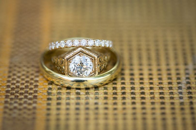 A beautiful vintage engagement ring from San Francisco's Lang Jewelry, and wedding bands from the...