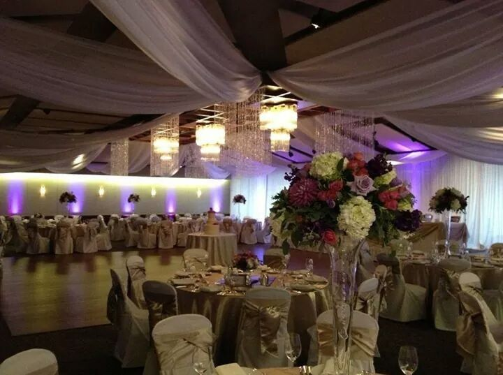 table set up with center piece