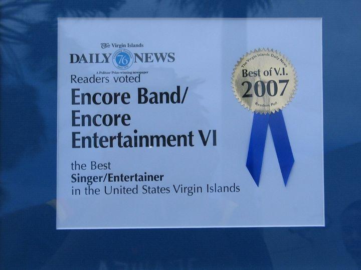 Best Entertainer in the Virgin Islands Award