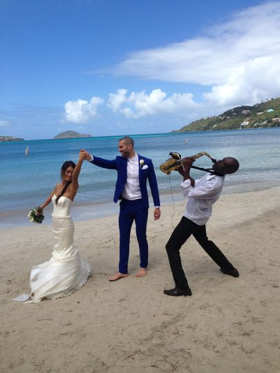Destination wedding at Magens Bay Beach St Thomas USVI Virgin Islands bride and groom wedding...