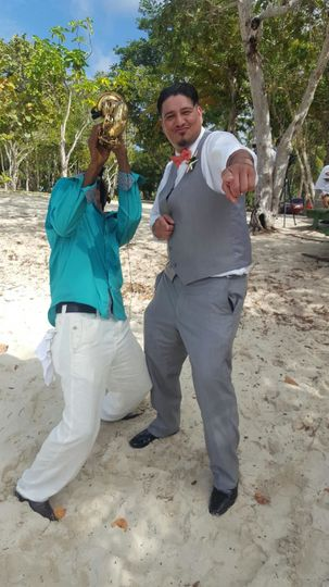 Destination wedding at Magens Bay Beach St Thomas USVI Virgin Islands bride and groom wedding...