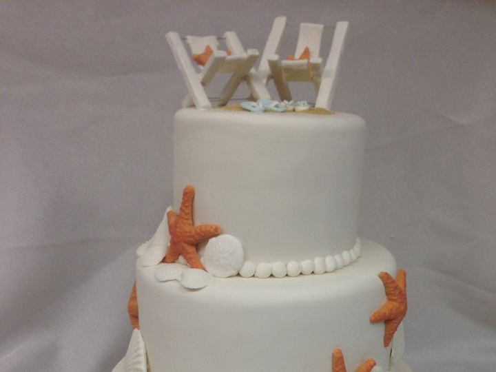 Tmx 1414420399189 Wedding Cake With Starfish And Pug Valley Cottage wedding cake