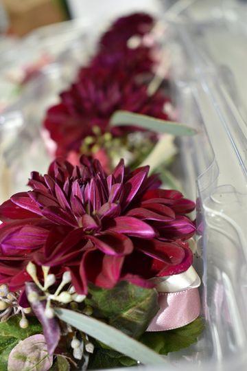 Burgundy dahlia corsages