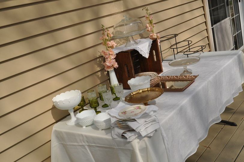 Some of our vintage 'pretties' during bridal shower setup 5/5/18
