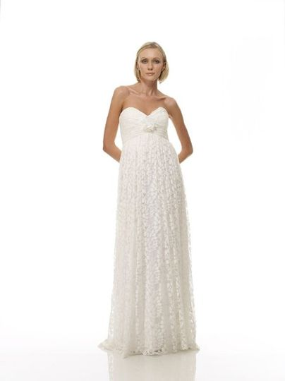 Style B1047 - Front View  Birch Leaf Cotton Lace Empire Waist Gown w/ Pleated Bodice & Matching...