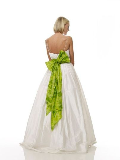 B1058 - Back View  Raw Silk Shantung Scoop-Neck Gown w/ Vertical Hand-Draped Bodice & Indonesian...