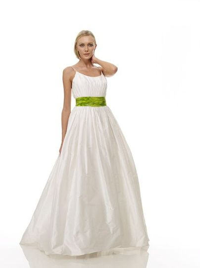 B1058 - Front View  Raw Silk Shantung Scoop-Neck Gown w/ Vertical Hand-Draped Bodice & Indonesian...
