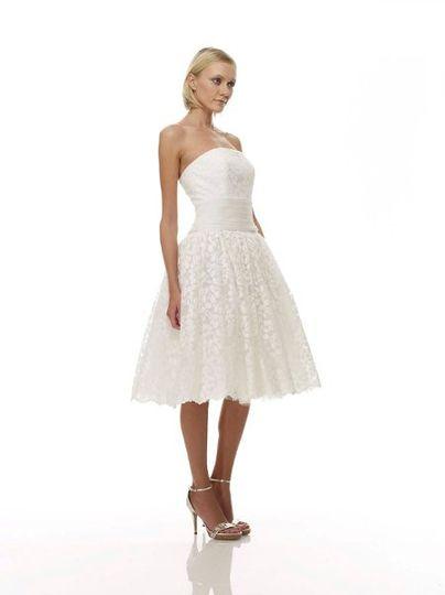 B1060 - Front View  Birch Leaf Cotton Lace Strapless Short Dress w/ Hand-Draped English Cotton...