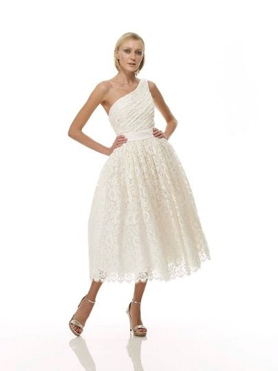B1062 - Front View  Rosebush Cotton Lace One Shoulder T-Length Gown w/ Asymmetrical Hand-Pleated...