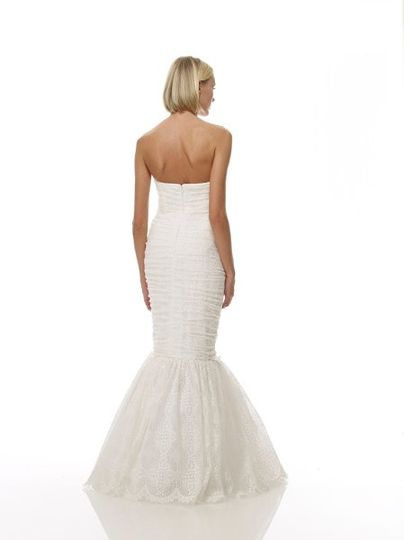 B1072 - Back View  Hand-Pleated Antique English Cotton Lace Strapless Sweetheart Neck Gown w/...