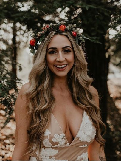 Wavy hair with floral crown