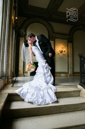 Couple kissing indoors
