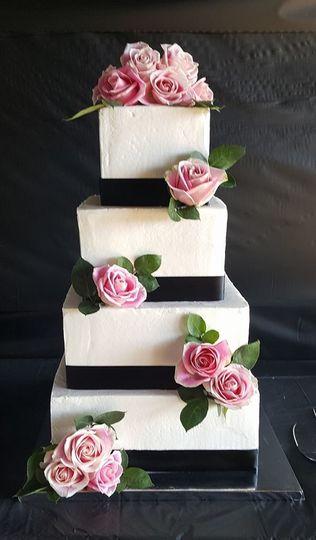 4-tier pink rose wedding cake