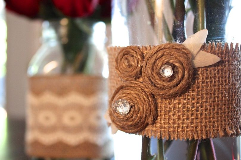 Hand-crafted burlap themed centerpieces
