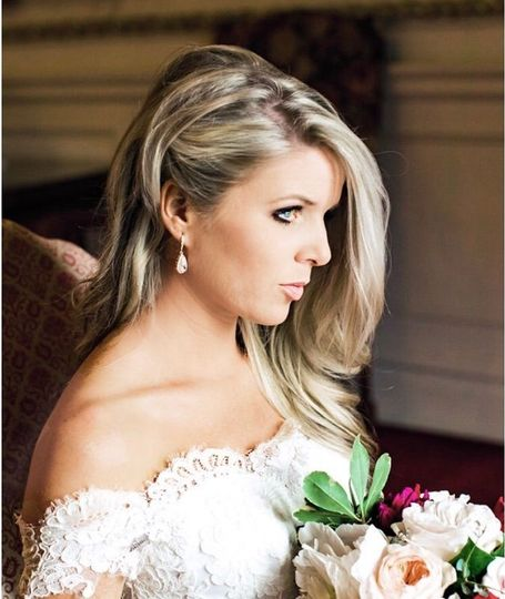 Bride in an off-shoulder wedding dress