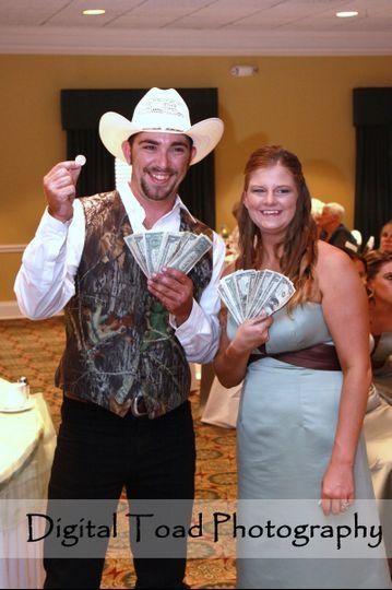 Dollar Dance - somebody gave the groom a quarter! :-)