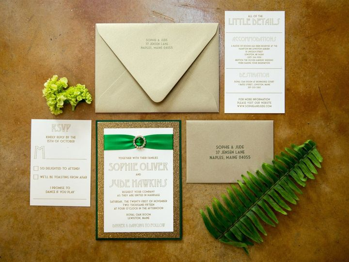 Tmx 1432223091866 Emeraldgold Shoot Invitesuite Portland, ME wedding invitation