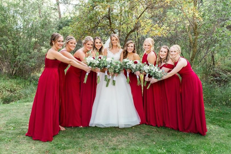 Vibrant red gowns
