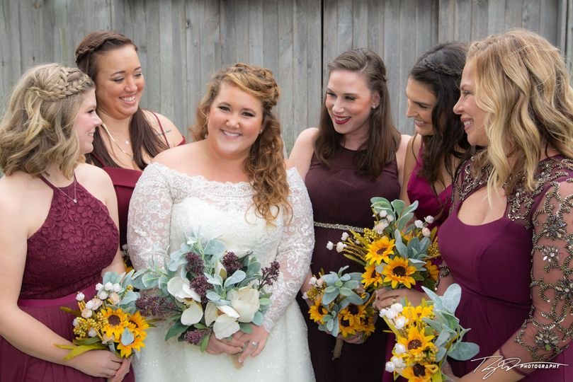 The bride and her wedding party