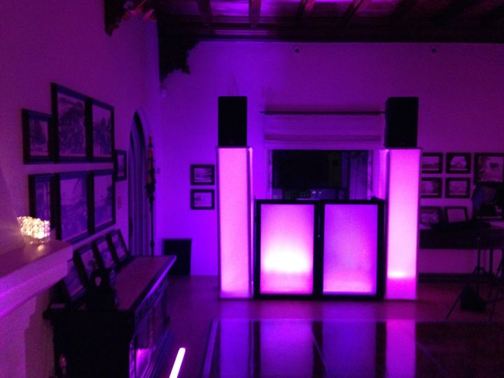 Our brand new lighted facade and columns.  No speaker stands...the speakers sit on the columns and...