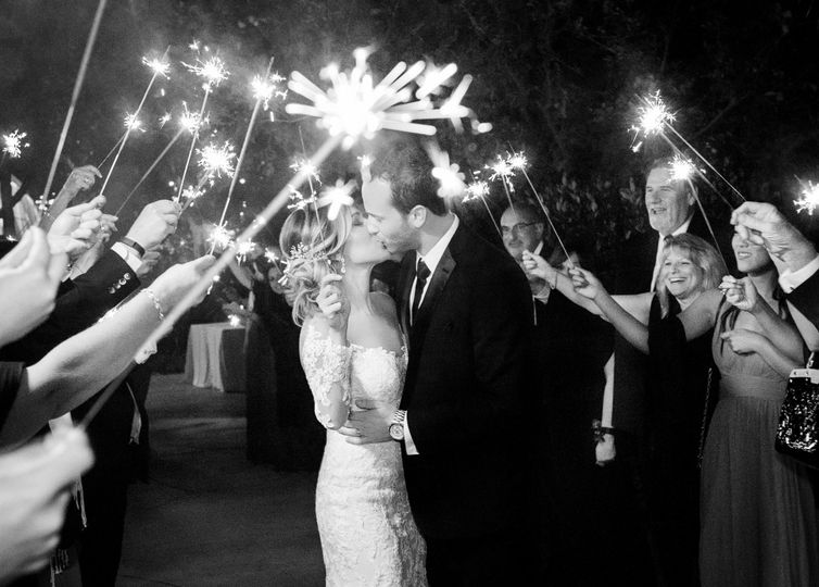 Romantic Sparkler Exit Photo